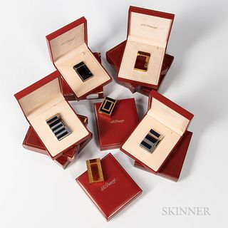Six S.T. Dupont Lighters, all with inner, outer boxes, three with and three without blank guarantee card.