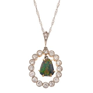 An Antique Diamond & Black Opal Necklace in 14K
