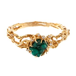A 14K Brutalist Emerald Crystal & Diamond Bangle