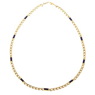 A Heavy 18K Yellow Gold Curb Chain with Lapis