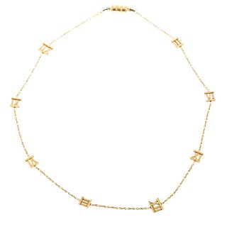 A Tiffany & Co Atlas Open Numeral Necklace in 18K