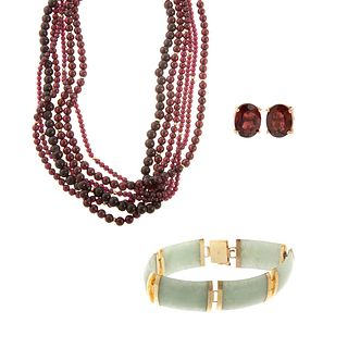 A Collection of Garnet & Jade Jewelry in 14K