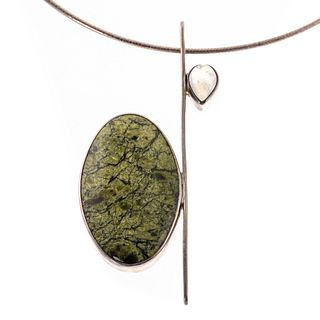 A Modern Sterling Labradorite & Jasper Necklace