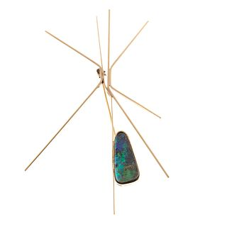 A Betty Cooke Designed Black Opal Brooch in 14K