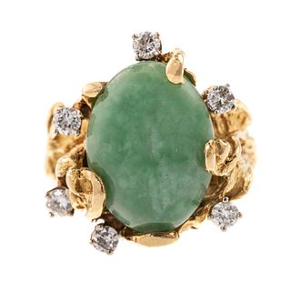 An 18K Free Form Ring Featuring Jade & Diamonds
