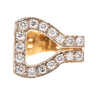 A 14K Yellow Gold Diamond Stirrup Ring