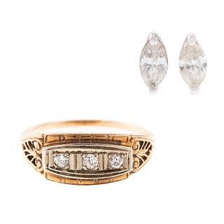 A 14K Art Deco Ring & Marquise Diamond Earrings