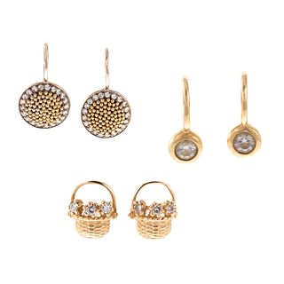 A Trio of Small Gold & Diamond Earrings