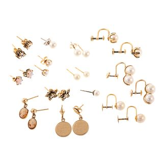A Large Collection of Pearl & Gemstone Earrings