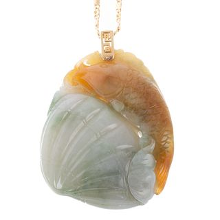 A Carved Jade Fish with Shell Pendant on 18K Chain