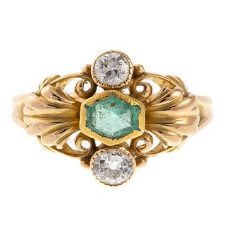 A 18K Yellow Gold Ring with Emerald & Diamonds