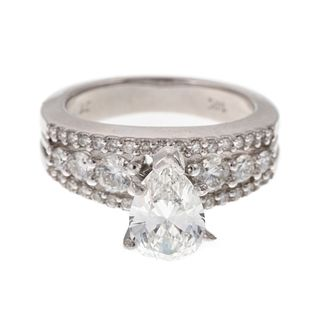 A 14K GIA Cert. 1.06ct Pear Brilliant Diamond Ring