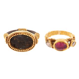 A Pair of 18K Ruby, Diamond & Ancient Coin Rings