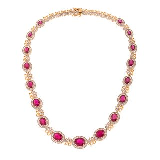 A 35.45 ct Ruby & Diamond Necklace in 14K