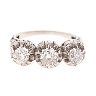 A Three-Stone Old European Cut Diamond Ring in 18K