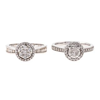 A Pair of Diamond Halo Rings in 18K & 14K