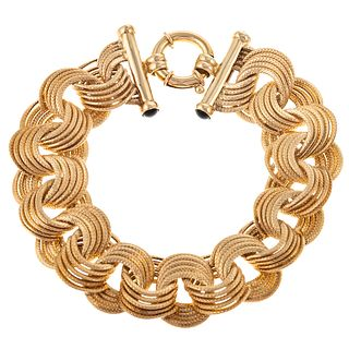 A Large Interlocking Link Bracelet in Gold