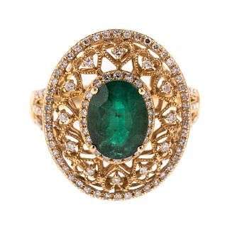 An Emerald & Diamond Filigree Ring in 14K