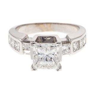 An 18K GIA Cert. 1.59 ct Princess Cut Diamond Ring