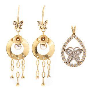 A Butterfly Pendant & Dangle Earrings in Gold