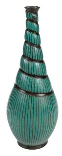 Turquoise Cloisonne and Bronze Bottle Vase