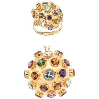 PENDANT / BROOCH AND RING SET WITH AMETHYST, CITRINE, AQUAMARINES, TOURMALINE AND GARNETS. 18K YELLOW GOLD.  H. STERN, SPUNTNIK COLLECTION
