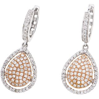 DIAMONDS EARRINGS. 18K WHITE AND PINK GOLD
