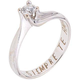 SOLITAIRE DIAMOND RING. 18K WHITE GOLD
