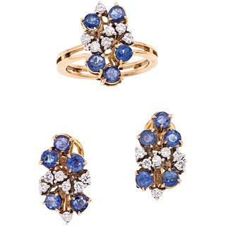 RING AND EARRINGS WITH KYANITES AND DIAMONDS. 10K YELLOW GOLD