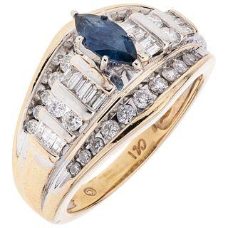 SAPPHIRE AND DIAMONDS RING. 14K YELLOW GOLD