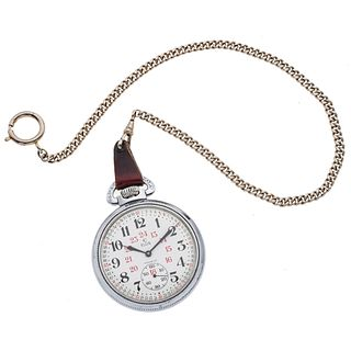 ELGIN INCABLOC POCKET WATCH WITH FOB. STEEL AND BASE METAL