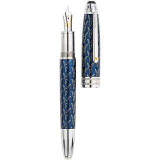 FOUNTAIN PEN MONTBLANC MEISTERSTÜCK SOLITAIRE LEGRAND LE PETIT PRINCE. RESIN, LACQUER AND 18K GOLD