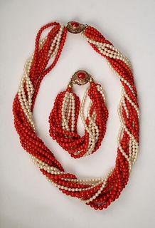 Red Coral & Pearl Necklace Combo