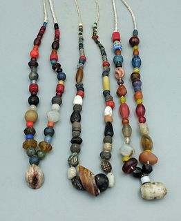 (3) Necklaces w/ Assorted Ancient Beads