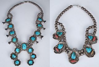 (2) Navajo Turquoise Necklaces, One Signed