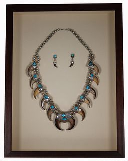 Navajo Turquoise/Bear Claw Necklace and Earrings