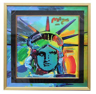 """Peter Max """"Liberty V"""" Mixed Media"""