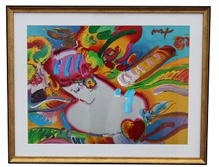 """Peter Max """"Flower Blossom Lady"""" Mixed Media"""