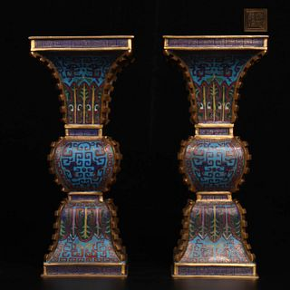 A Pair of Chinese Cloisonne Square Vase