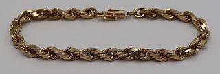 JEWELRY. Men's 10kt Gold Rope Twist Bracelet.