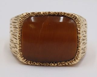 JEWELRY. Men's 14kt Gold and Tiger's Eye Ring.