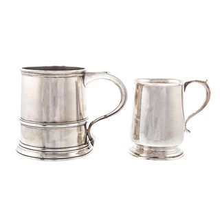 Two English Silver Tankards