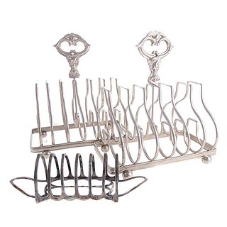 Three English Silver Plated Toast Racks
