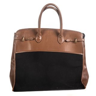 A Brown Leather Travel Tote