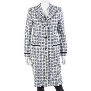 Ella Pritsker Couture Navy Boucle Wool Coat