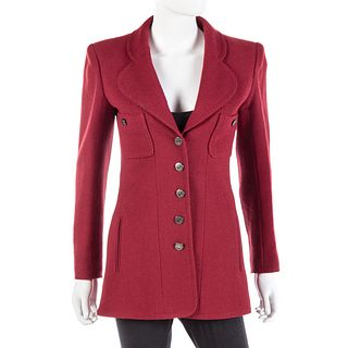 Chanel Boutique Burgundy Wool Jacket