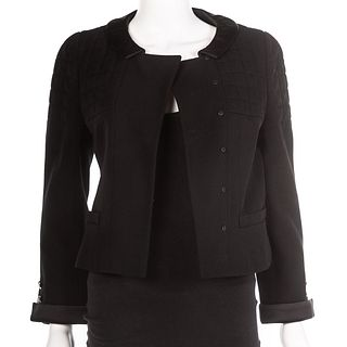 Chanel Black Wool & Silk Cropped Jacket