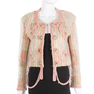 Moschino Couture! Pastel Boucle Wool Jacket
