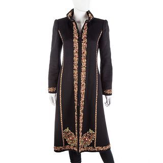 Oscar de la Renta Embroidered Black Cashmere Coat