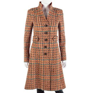 Etro Burnt Orange Boucle Wool Coat
